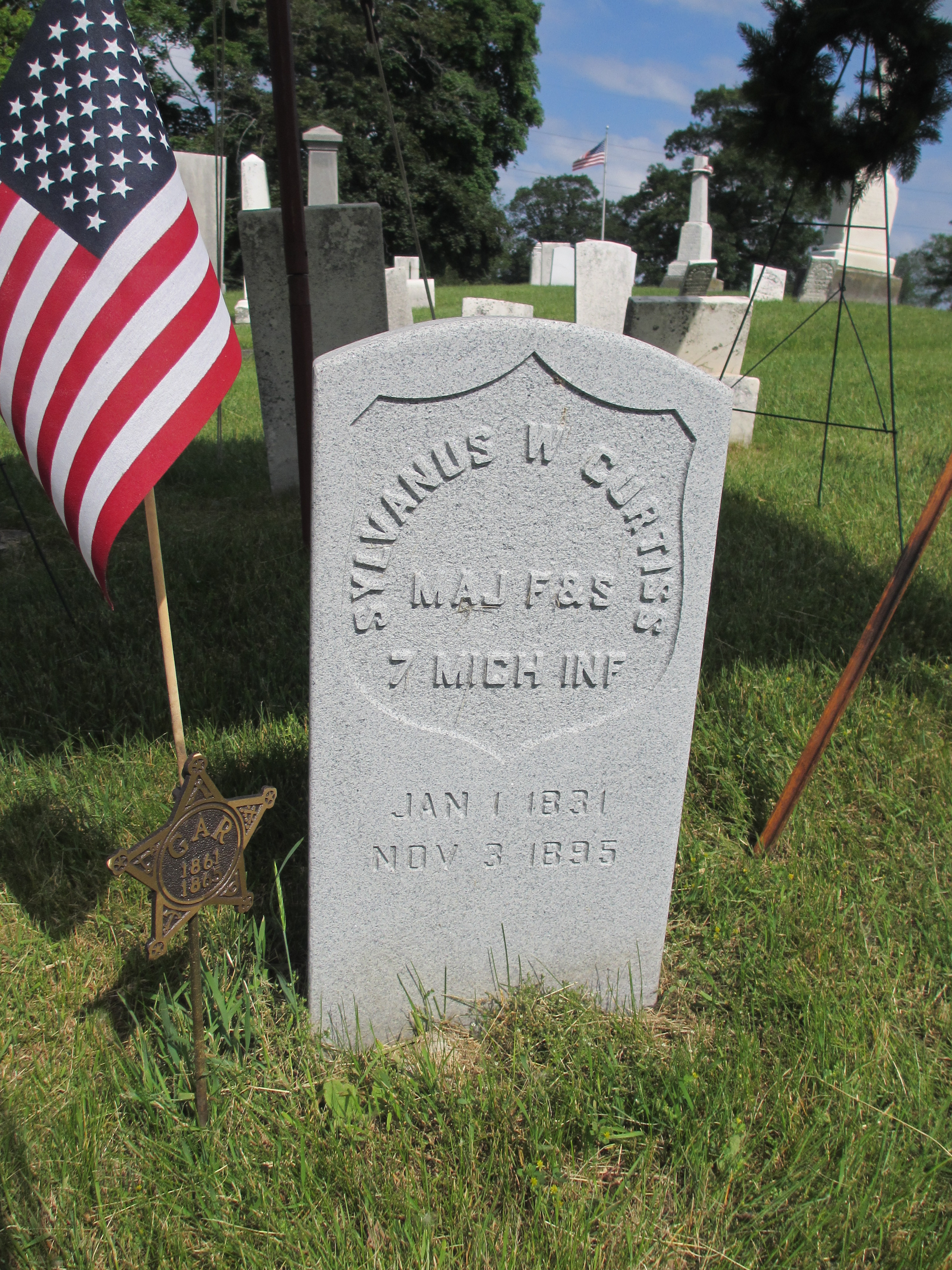 New Tombstone of Sylvanus W. Curtis
